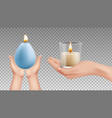 hands holding candles realistic lights religion vector image vector image