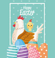 happy easter card with chicken family and eggs vector image vector image