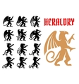 Heraldic mythical animals icons set vector image vector image