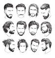 highly detailed hand drawn mens hairstyles vector image vector image