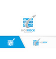 host and rocket logo combination server vector image vector image