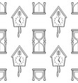hourglass and cuckoo clock black and white vector image vector image