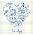 i love biology doodles in heart vector image vector image