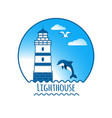 lighthouse and dolphin vector image