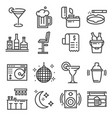line bar and pub icons set vector image vector image