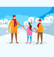 little boy and girl walking with father at winter vector image