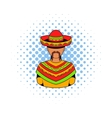 Mexican man icon comics style vector image vector image