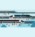 modern high speed trains stopped at railway vector image