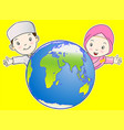 muslim kids and the world vector image vector image