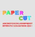 paper cut letters font papercut 3d alphabet vector image