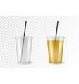 realistic 3d plastic disposable transparent vector image