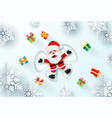 santa claus laying on snow making a snow angel vector image vector image