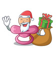 santa with gift baby silicone pacifier isolated on vector image vector image