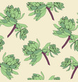 seamless pattern of green succulent leaves vector image vector image