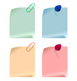 set multicolored paper cards attached vector image
