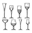 set of different drinking glasses hand vector image vector image