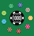 set poker chips on poker table green color vector image