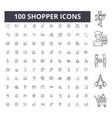 shopper line icons signs set outline vector image vector image