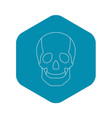 skull icon outline style vector image vector image