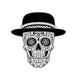 stylized sugar skull in hat black and white vector image vector image