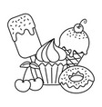 sweet desserts icon black and white vector image