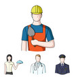 the doctor the pilot the waitress the builder vector image vector image