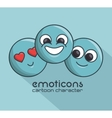 three cartoon emoticons cheerful shadow vector image