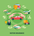 transport insurance round composition vector image vector image