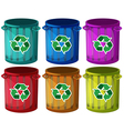 Trashbins with recycle signs vector image vector image