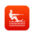 water skiing man icon digital red vector image vector image