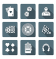 White monochrome various gambling icons collection vector image