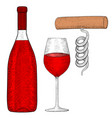 wine set bottle of red wine with glass and vector image