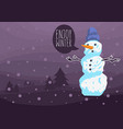 winter card design with a snowman with a wool hat vector image vector image