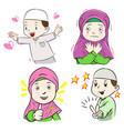 collection of muslim kids cartoon vector image