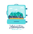 adventure awaits - lettering quote open travel vector image vector image
