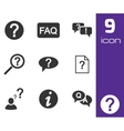 black faq icons set vector image