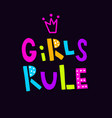 black neon girls rule vector image vector image