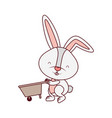 bunny with wheelbarrow isolated icon vector image