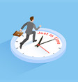 businessman running with clock vector image