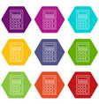 calculator icons set 9 vector image vector image