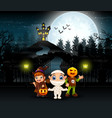cartoon of kids wearing halloween costume with a b vector image