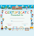 certificate template with kids in winter at school vector image vector image