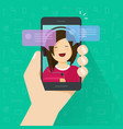 chat on smartphone flat vector image vector image