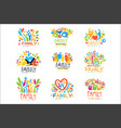 colorful family labels original design set of vector image vector image