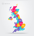 colorful map uk united kingdom with regions vector image