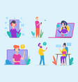 customer service characters virtual support vector image vector image