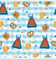 dirndl dress oktoberfest seamless pattern vector image