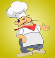Fat chef invites you to try a dish vector image