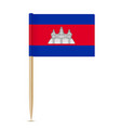 flag cambodia flag toothpick on white vector image