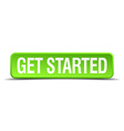 get started green 3d realistic square isolated vector image vector image